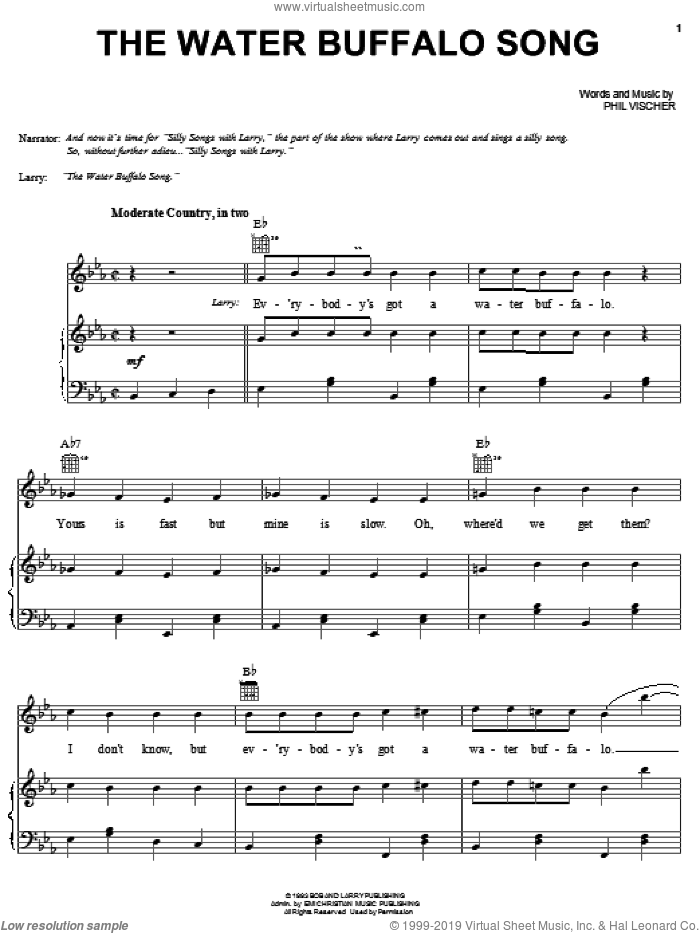 The Water Buffalo Song sheet music for voice, piano or guitar by VeggieTales and Phil Vischer, intermediate skill level