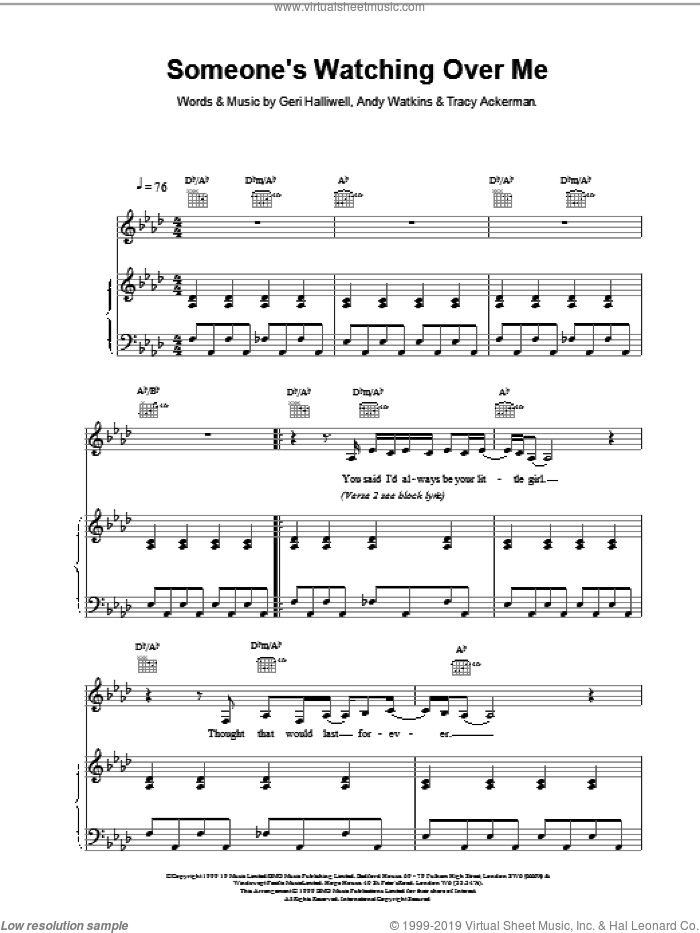 Someone's Watching Over Me sheet music for voice, piano or guitar by Andy Watkins and Geri Halliwell. Score Image Preview.