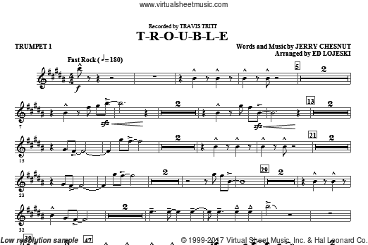 T-R-O-U-B-L-E (COMPLETE) sheet music for orchestra by Jerry Chesnut