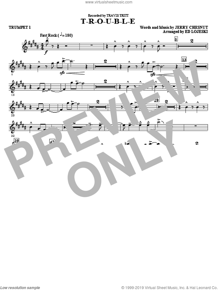 T-R-O-U-B-L-E (complete set of parts) sheet music for orchestra/band by Ed Lojeski, Jerry Chesnut, Elvis Presley and Travis Tritt, intermediate skill level