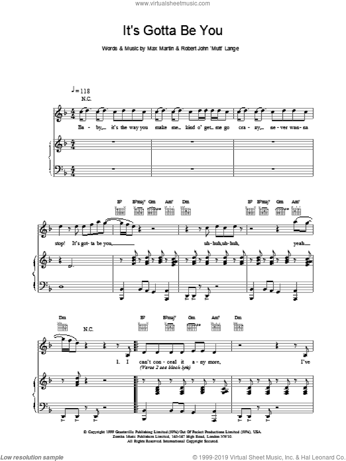 It's Gotta Be You sheet music for voice, piano or guitar by Backstreet Boys, Lange,Robert and Max Martin, intermediate skill level