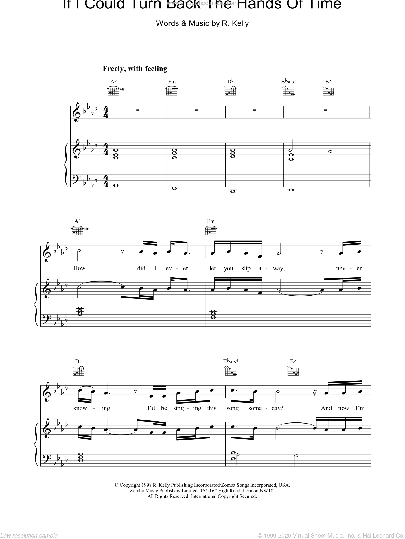 If I Could Turn Back The Hands Of Time sheet music for voice, piano or guitar by Robert Kelly, intermediate skill level