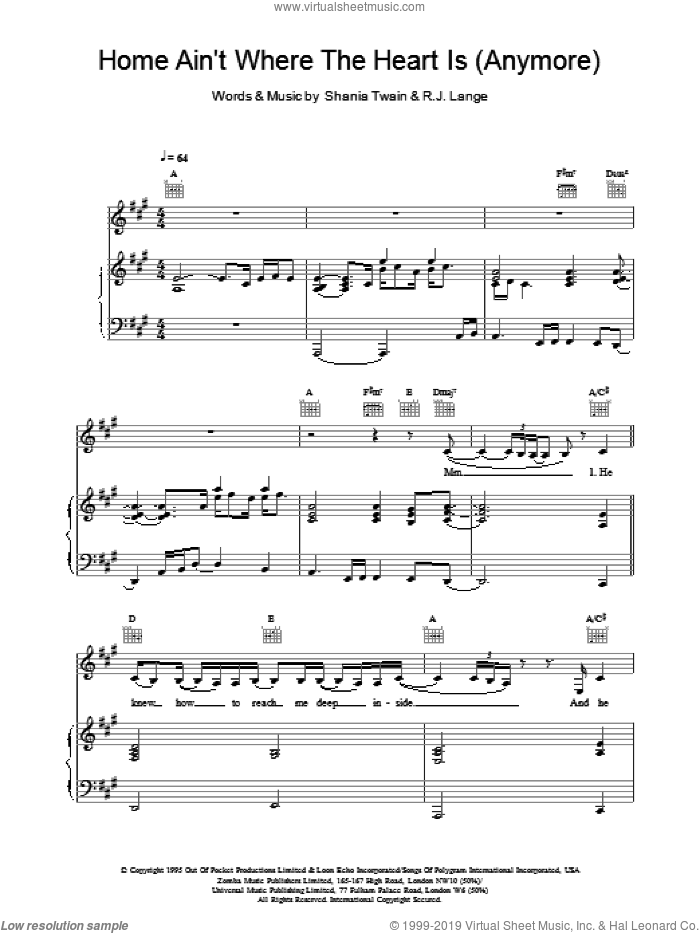 Home Ain't Where The Heart Is (Anymore) sheet music for voice, piano or guitar by Shania Twain and Robert John Lange. Score Image Preview.