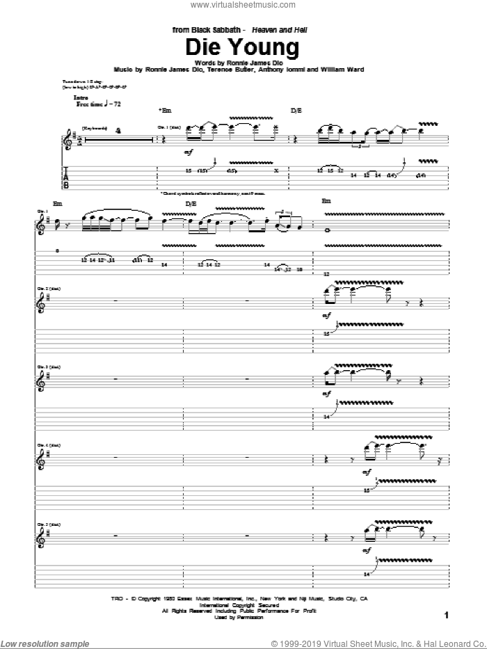Die Young sheet music for guitar (tablature) by Black Sabbath and Dio, intermediate guitar (tablature). Score Image Preview.