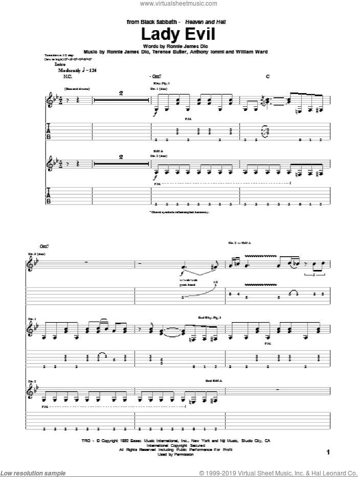 Lady Evil sheet music for guitar (tablature) by William Ward, Black Sabbath, Dio, Ronnie James Dio and Terence Butler. Score Image Preview.