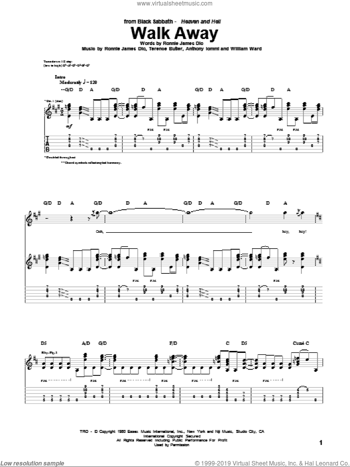 Walk Away sheet music for guitar (tablature) by Black Sabbath, Dio, Anthony Iommi, Ronnie James Dio, Terence Butler and William Ward, intermediate skill level
