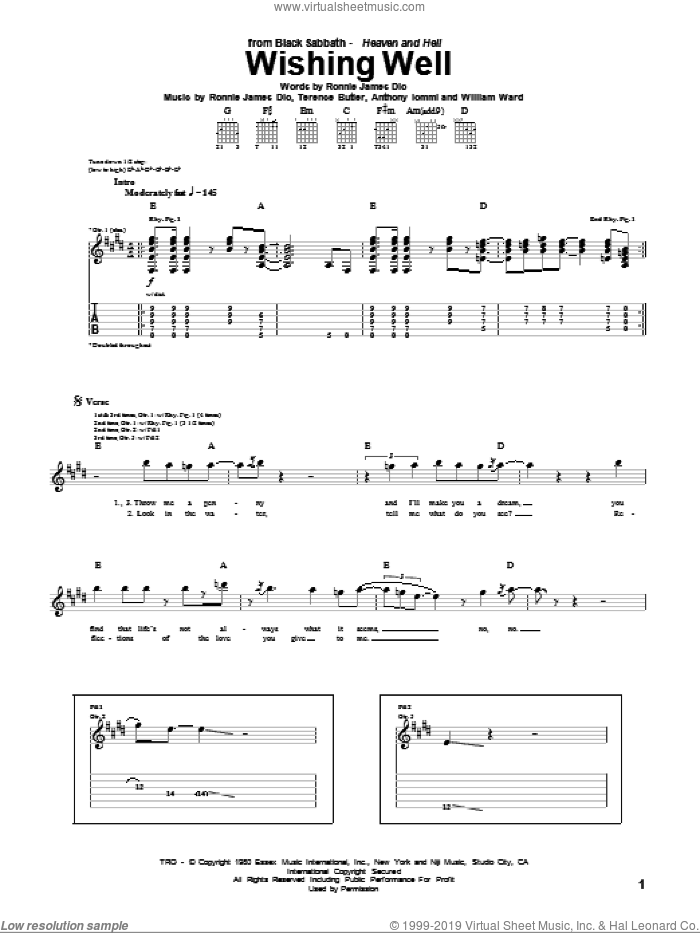Wishing Well sheet music for guitar (tablature) by William Ward, Black Sabbath, Dio, Ronnie James Dio and Terence Butler. Score Image Preview.