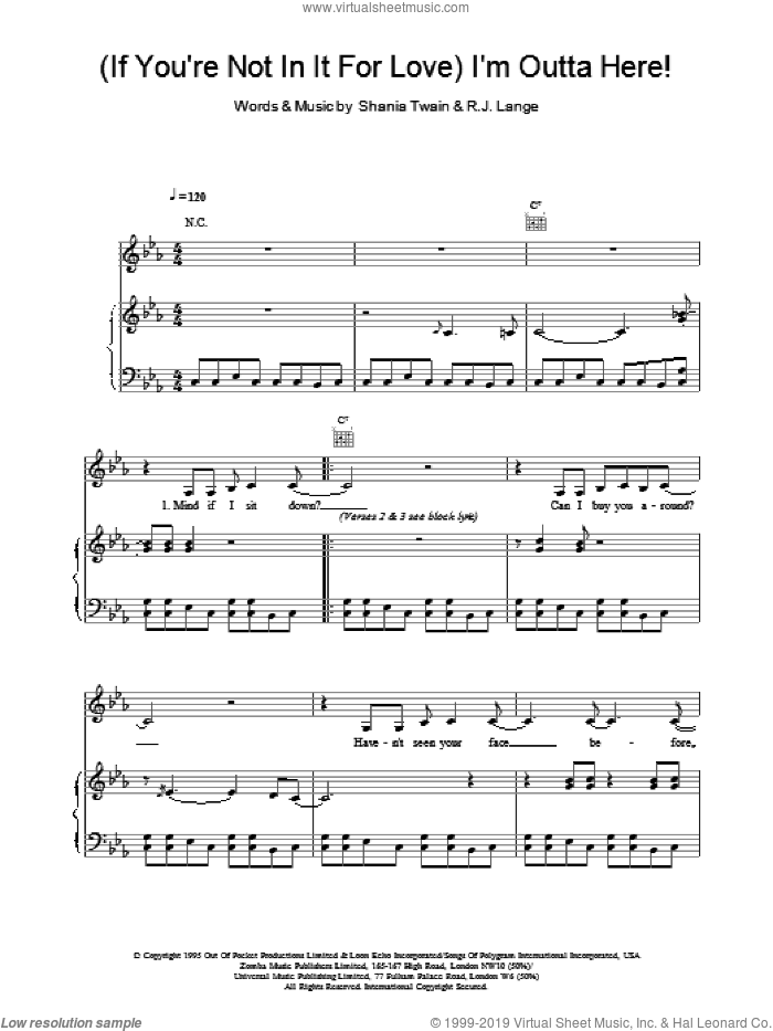(If You're Not In It For Love) I'm Outta Here! sheet music for voice, piano or guitar by Shania Twain and Robert John Lange, intermediate skill level