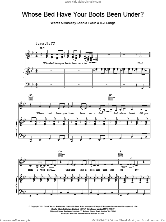 Whose Bed Have Your Boots Been Under? sheet music for voice, piano or guitar by Robert John Lange