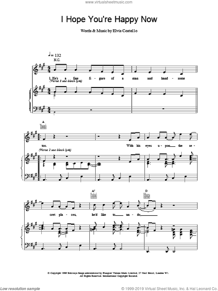 I Hope You're Happy Now sheet music for voice, piano or guitar by Elvis Costello. Score Image Preview.