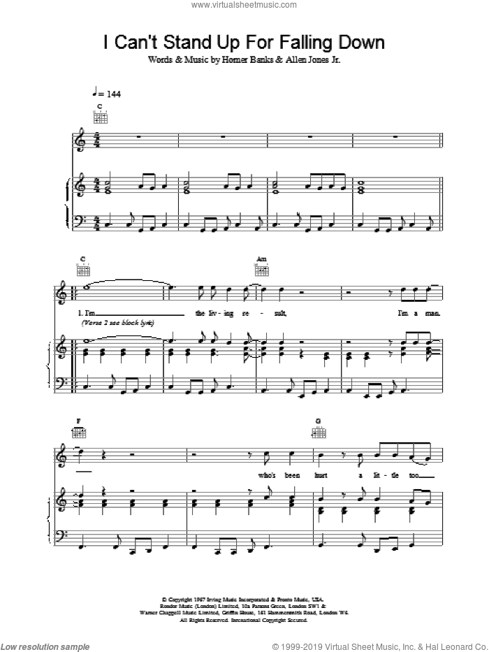 I Can't Stand Up For Falling sheet music for voice, piano or guitar by Homer Banks and Elvis Costello. Score Image Preview.
