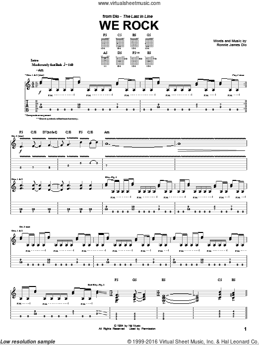 We Rock sheet music for guitar solo (tablature) by Ronnie James Dio