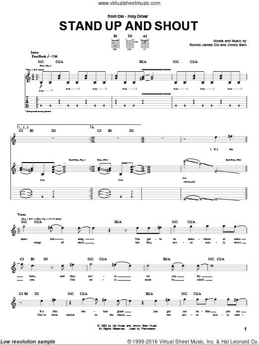 Stand Up And Shout sheet music for guitar (tablature) by Dio, Jimmy Bain and Ronnie James Dio, intermediate skill level