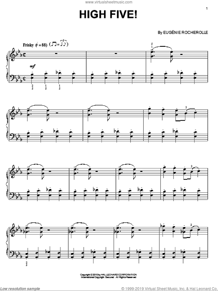 High Five! sheet music for piano solo by Eugenie Rocherolle. Score Image Preview.