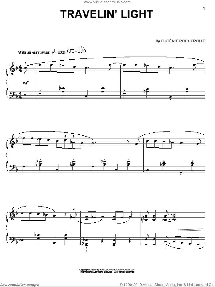 Travelin' Light sheet music for piano solo by Eugénie Rocherolle and Eugenie Rocherolle, intermediate. Score Image Preview.