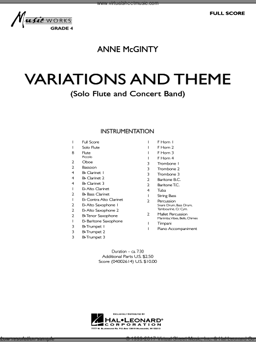 Variations And Theme (for Flute Solo And Band) (COMPLETE) sheet music for concert band by Anne McGinty