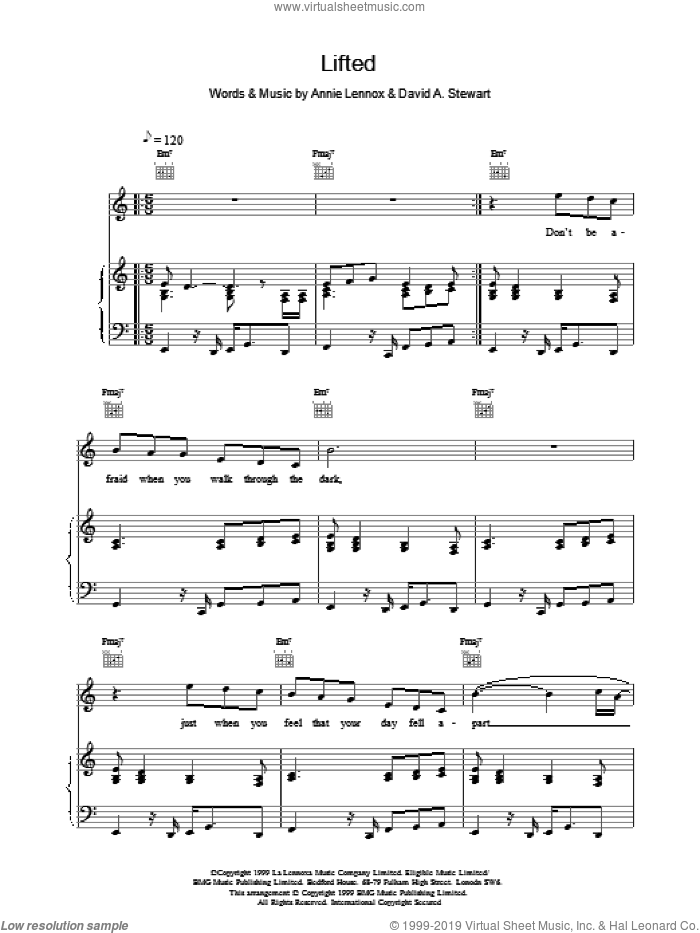 Lifted sheet music for voice, piano or guitar by Eurythmics and Lennox,A & Stewart,D, intermediate. Score Image Preview.