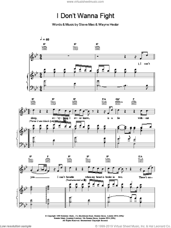 I Don't Wanna Fight sheet music for voice, piano or guitar by Steve Mac and Westlife. Score Image Preview.