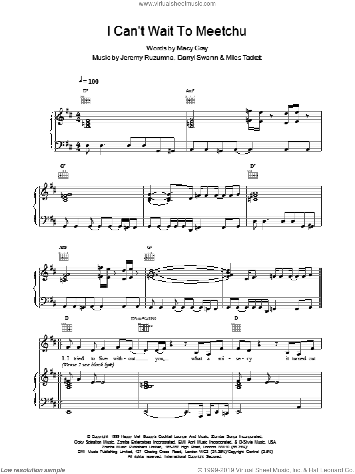 I Cant Wait To Meetchu sheet music for voice, piano or guitar by Darryl Swann and Macy Gray. Score Image Preview.