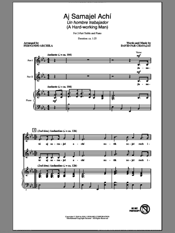 Aj Samajel AchA� (Un Hombre Trabajador - A Hard-Working Man) sheet music for choir and piano (duets) by David Par Chavajay
