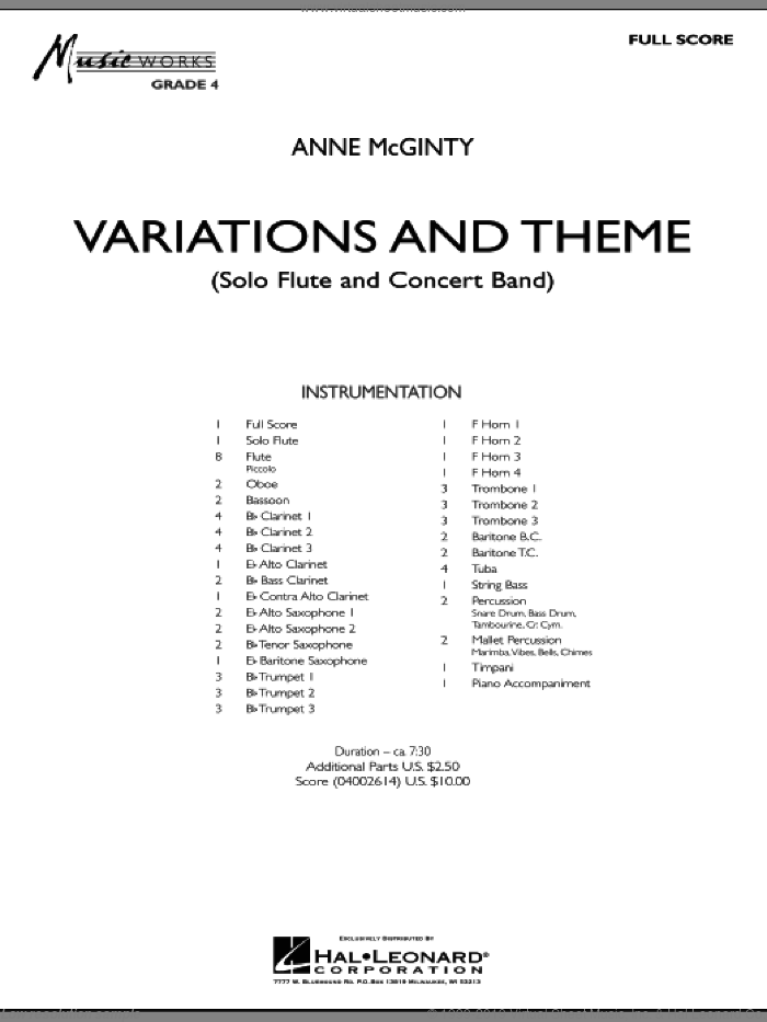Variations And Theme (for Flute Solo And Band) (COMPLETE) sheet music for concert band by Anne McGinty, intermediate skill level