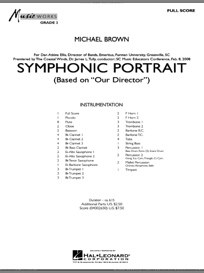 Symphonic Portrait (based on Our Director) (COMPLETE) sheet music for concert band by Michael Brown, intermediate skill level
