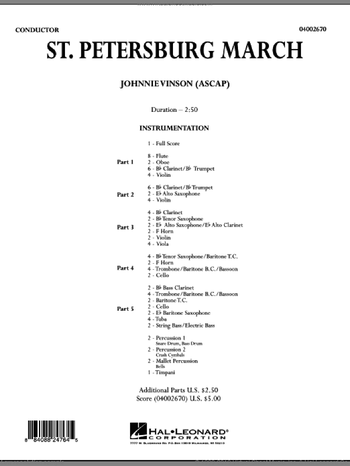 St. Petersburg March (COMPLETE) sheet music for concert band by Johnnie Vinson, intermediate concert band. Score Image Preview.