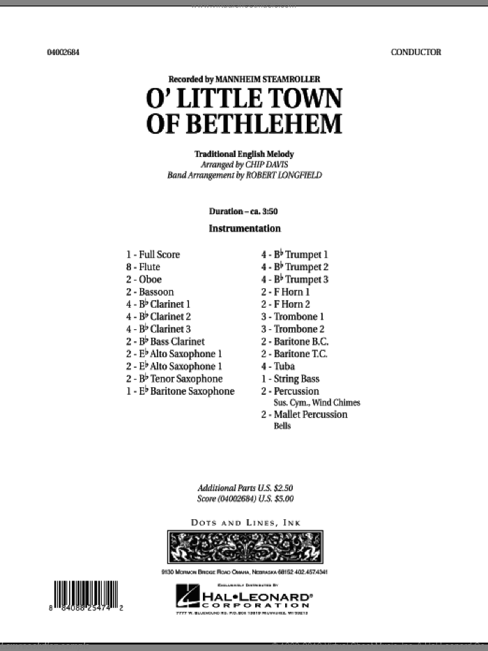 O Little Town Of Bethlehem (COMPLETE) sheet music for concert band by Robert Longfield, Chip Davis and Mannheim Steamroller, intermediate