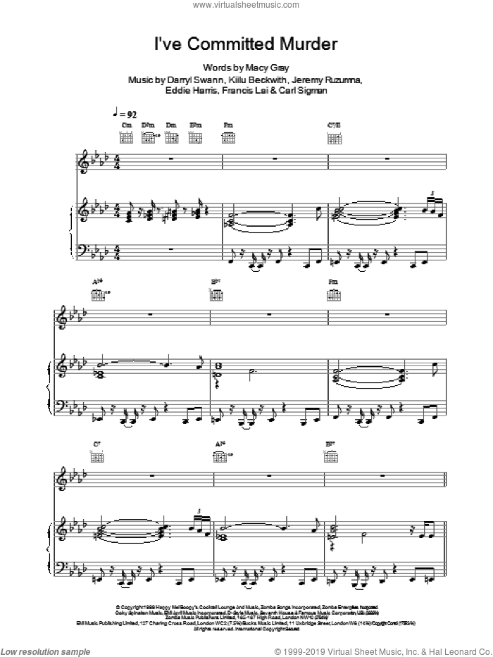 I've Committed Murder sheet music for voice, piano or guitar by Darryl Swann and Macy Gray. Score Image Preview.
