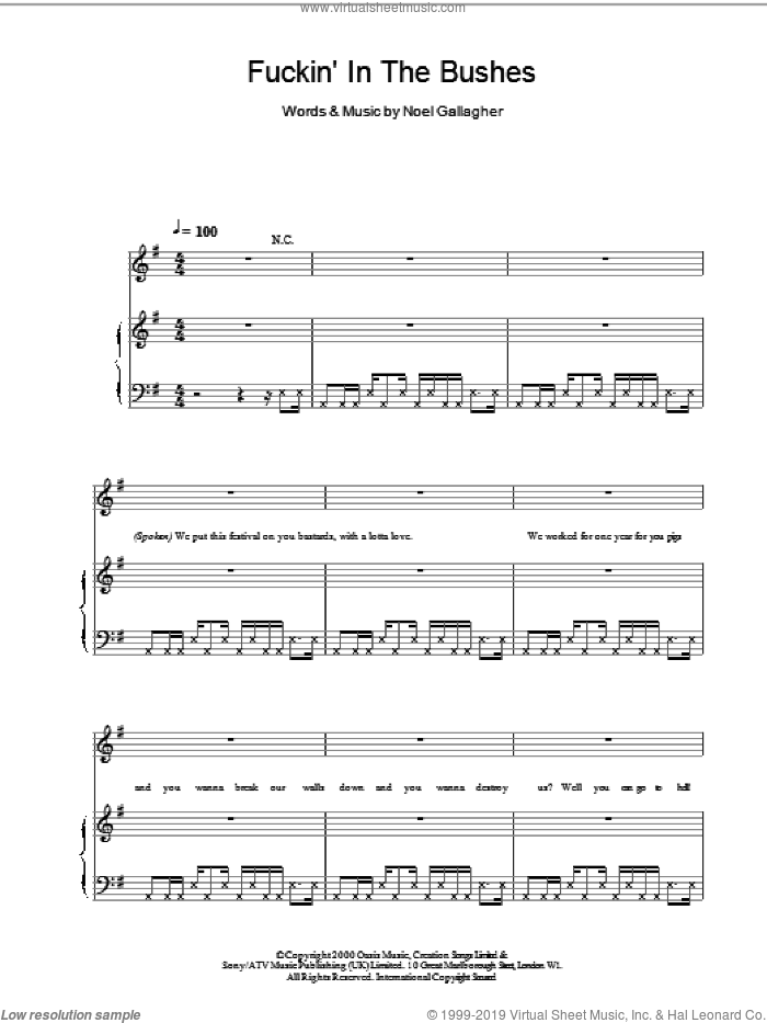 F***in' In The Bushes sheet music for voice, piano or guitar by Noel Gallagher and Oasis. Score Image Preview.