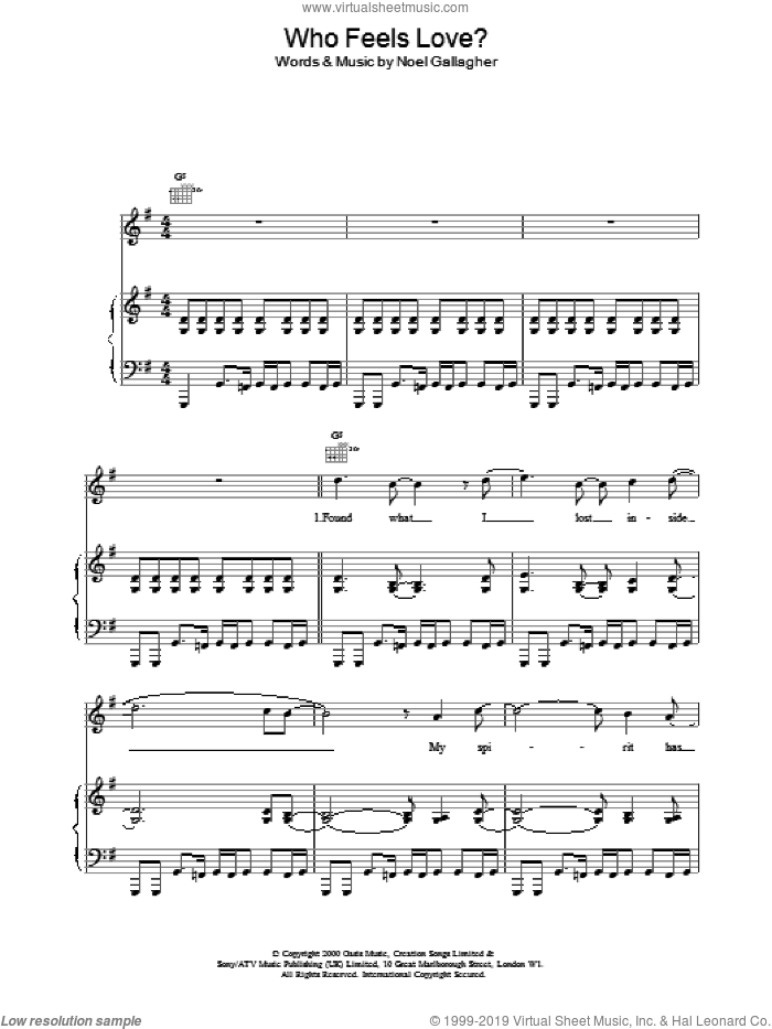 Who Feels Love? sheet music for voice, piano or guitar by Oasis and Noel Gallagher. Score Image Preview.