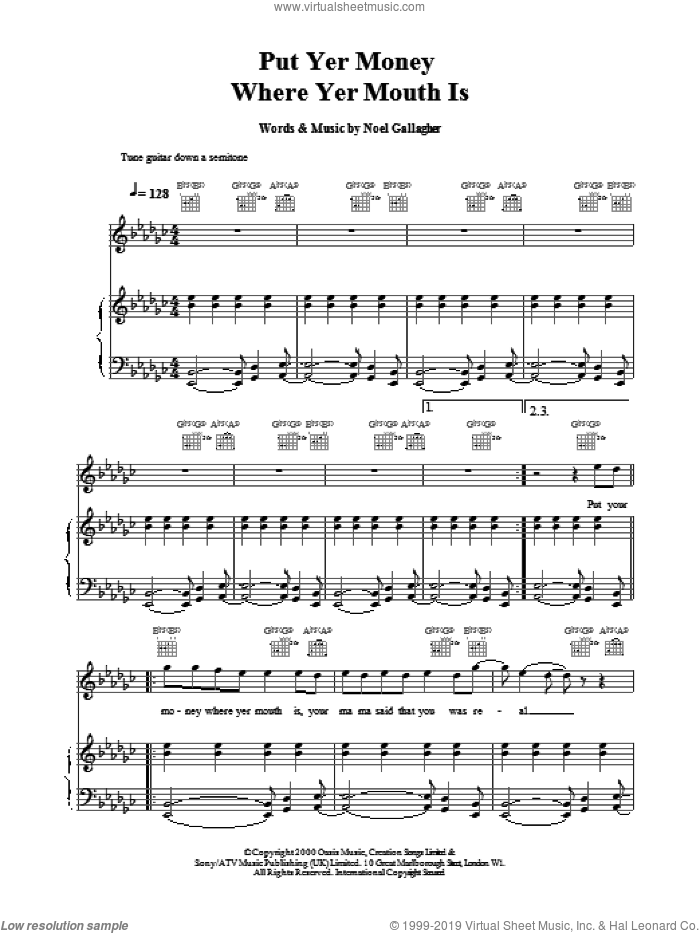 Put Yer Money Where Yer Mouth Is sheet music for voice, piano or guitar by Noel Gallagher and Oasis. Score Image Preview.