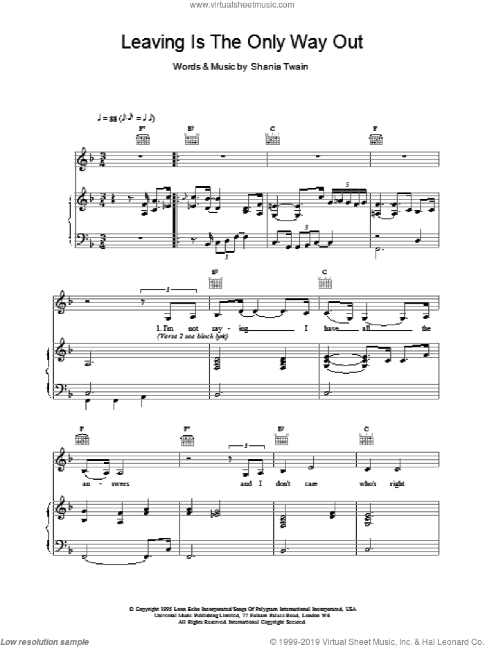 Leaving Is The Only Way Out sheet music for voice, piano or guitar by Shania Twain, intermediate voice, piano or guitar. Score Image Preview.