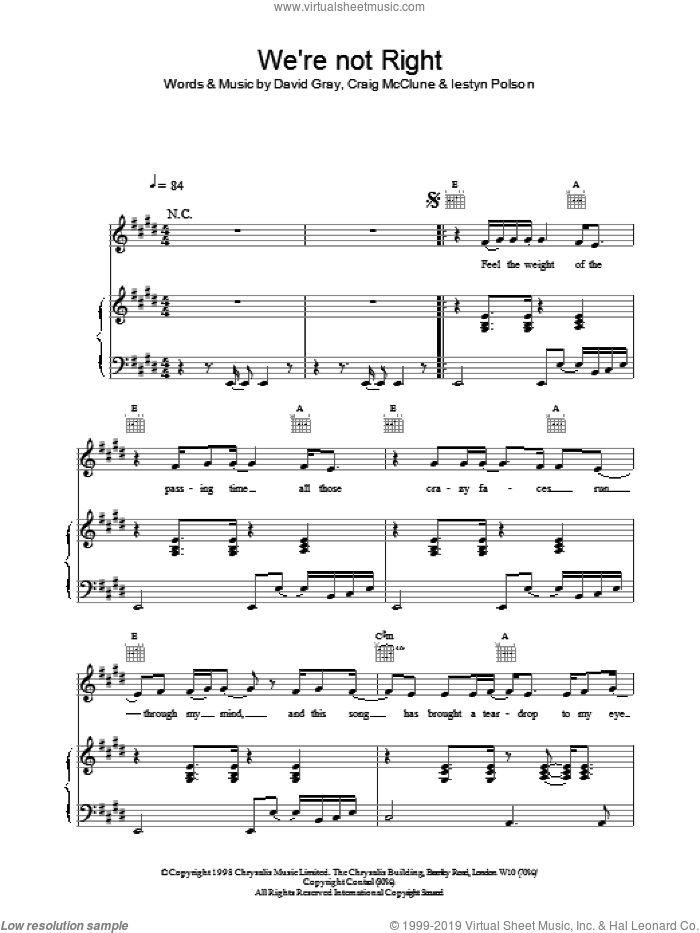 We're Not Right sheet music for voice, piano or guitar by David Gray and Lestyn Polson, intermediate voice, piano or guitar. Score Image Preview.