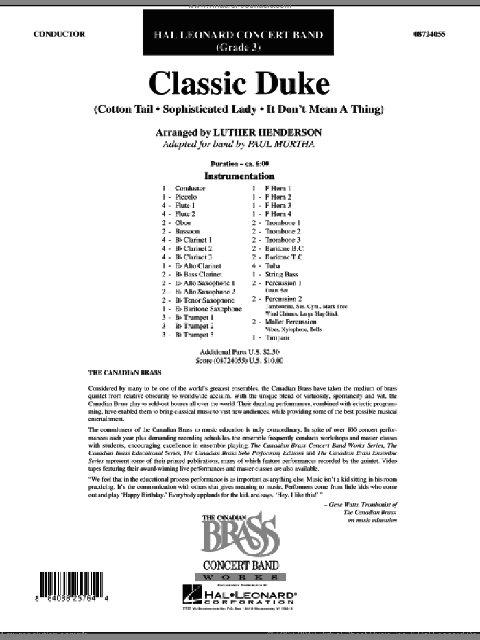 Classic Duke (COMPLETE) sheet music for concert band by Duke Ellington, Luther Henderson and Paul Murtha, intermediate skill level