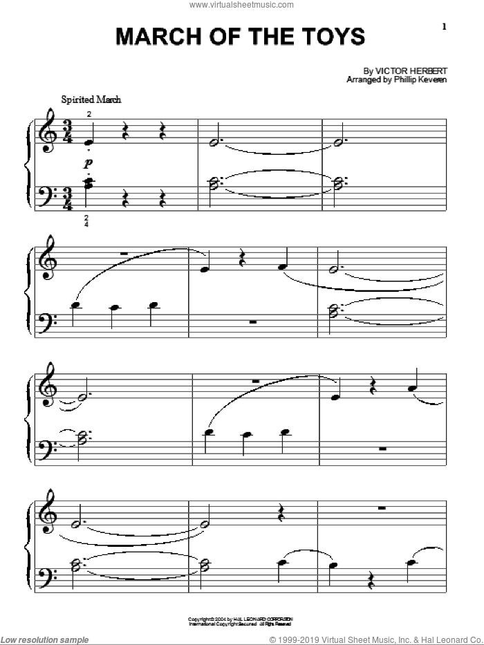 March Of The Toys sheet music for piano solo (big note book) by Victor Herbert and Phillip Keveren, Christmas carol score, easy piano (big note book). Score Image Preview.