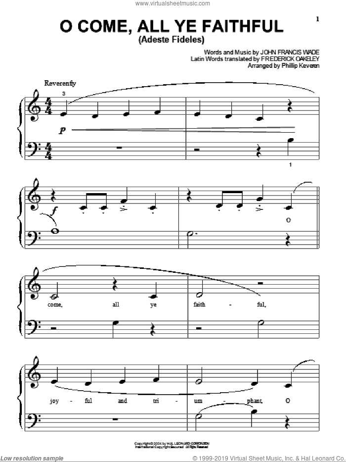 O Come, All Ye Faithful (Adeste Fideles) sheet music for piano solo (big note book) by John Francis Wade, Phillip Keveren and Frederick Oakeley, easy piano (big note book)