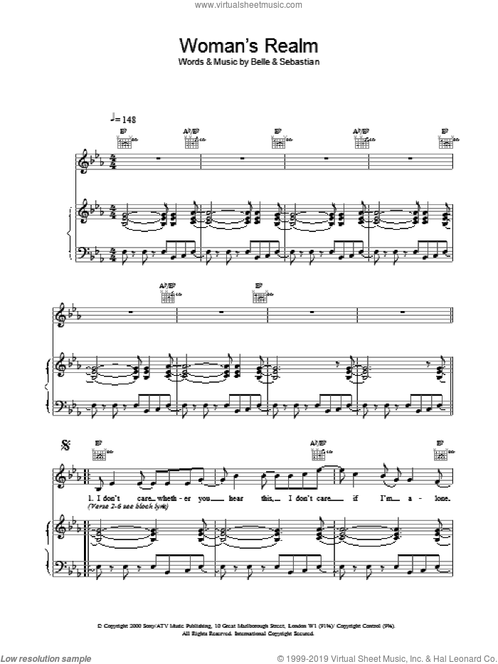Woman's Realm sheet music for voice, piano or guitar, intermediate. Score Image Preview.