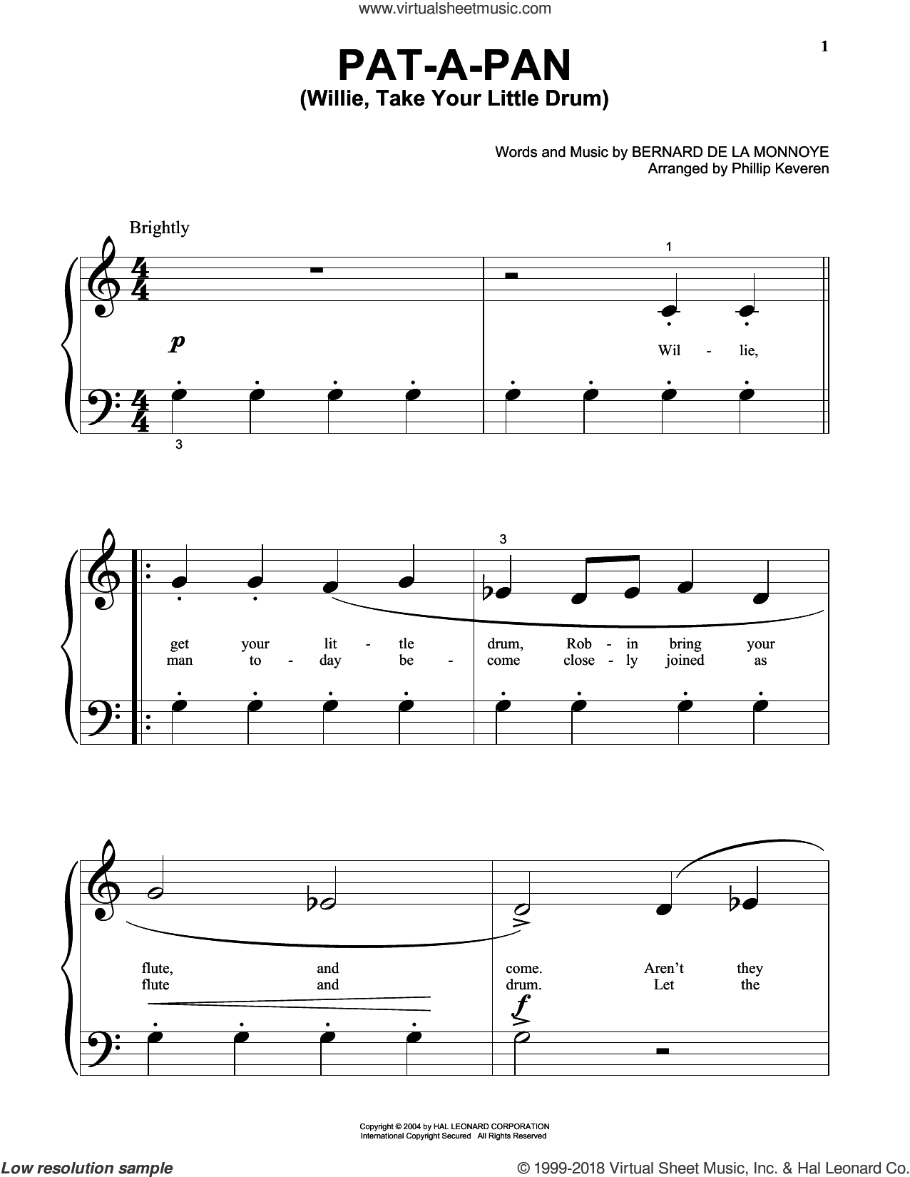 Pat-A-Pan (Willie, Take Your Little Drum) sheet music for piano solo (big note book) by Bernard de la Monnoye and Phillip Keveren. Score Image Preview.