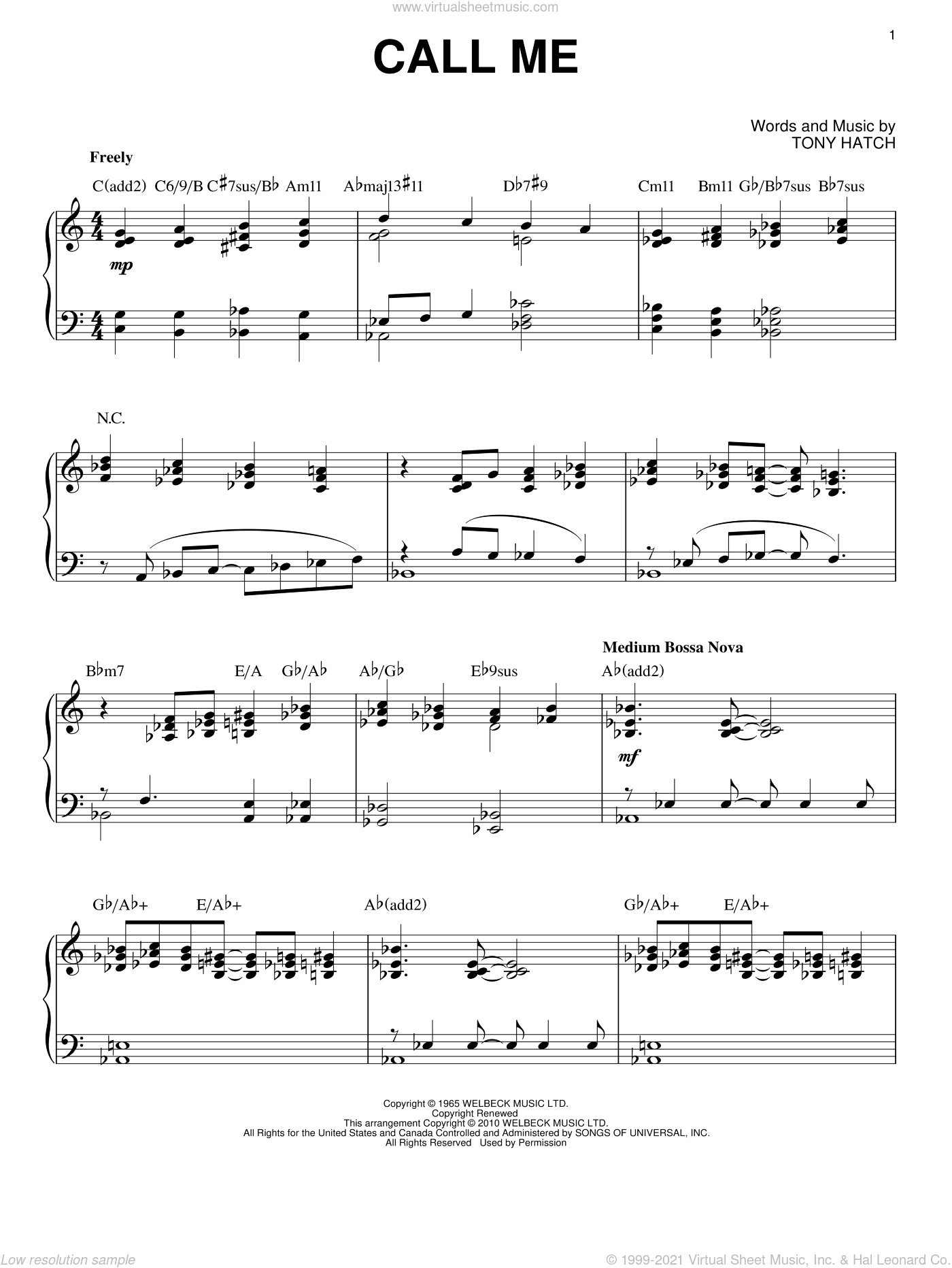 Call Me sheet music for piano solo by Tony Hatch, intermediate skill level