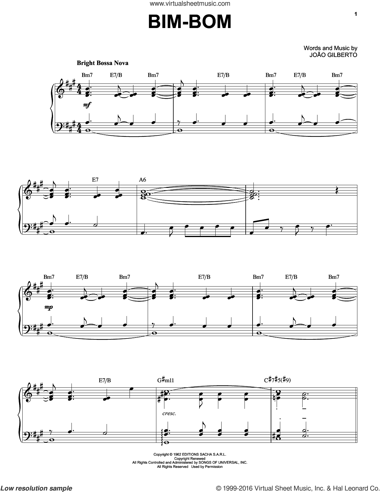 Bim-Bom sheet music for piano solo by Joao Gilberto. Score Image Preview.