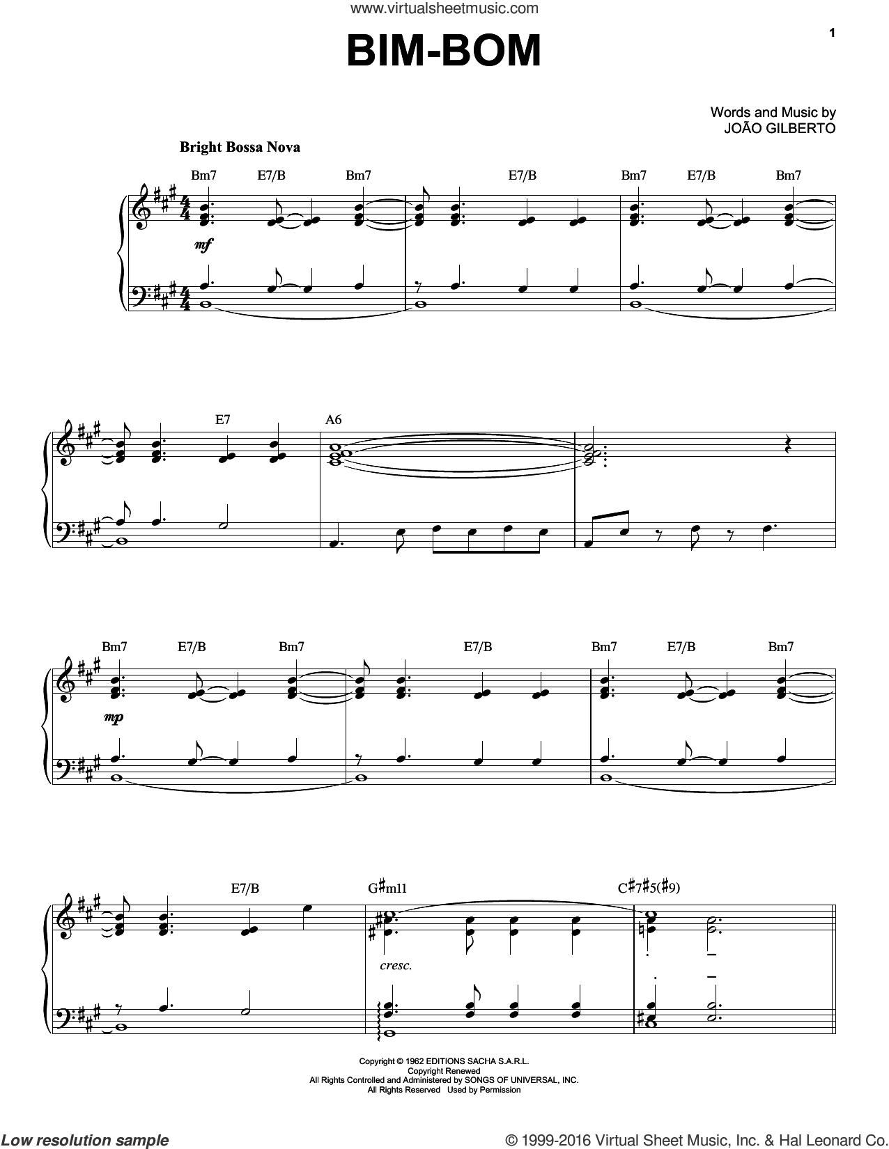 Bim-Bom sheet music for piano solo by Joao Gilberto, intermediate skill level