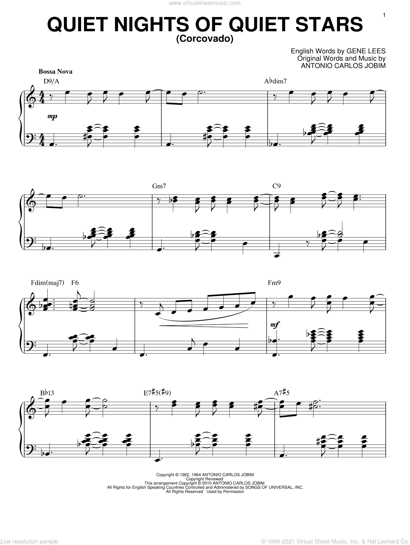Quiet Nights Of Quiet Stars (Corcovado) sheet music for piano solo by Eugene John Lees