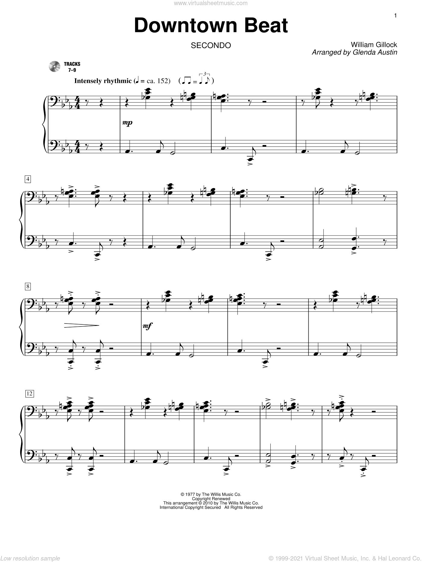 Downtown Beat sheet music for piano four hands (duets) by William Gillock and Glenda Austin. Score Image Preview.