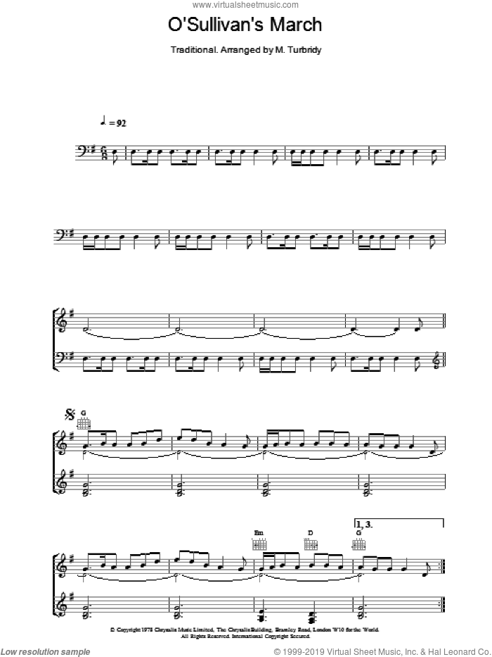 O'Sullivan's March sheet music for piano solo by Gilbert O'Sullivan and The Chieftains. Score Image Preview.
