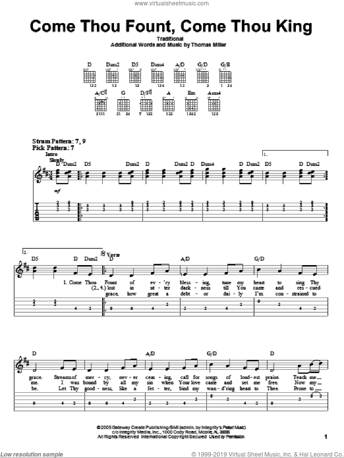 Come Thou Fount, Come Thou King sheet music for guitar solo (easy tablature) by Gateway Worship, Miscellaneous and Thomas Miller. Score Image Preview.