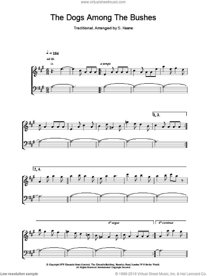 The Dogs Among The Bushes sheet music for piano solo by The Chieftains. Score Image Preview.