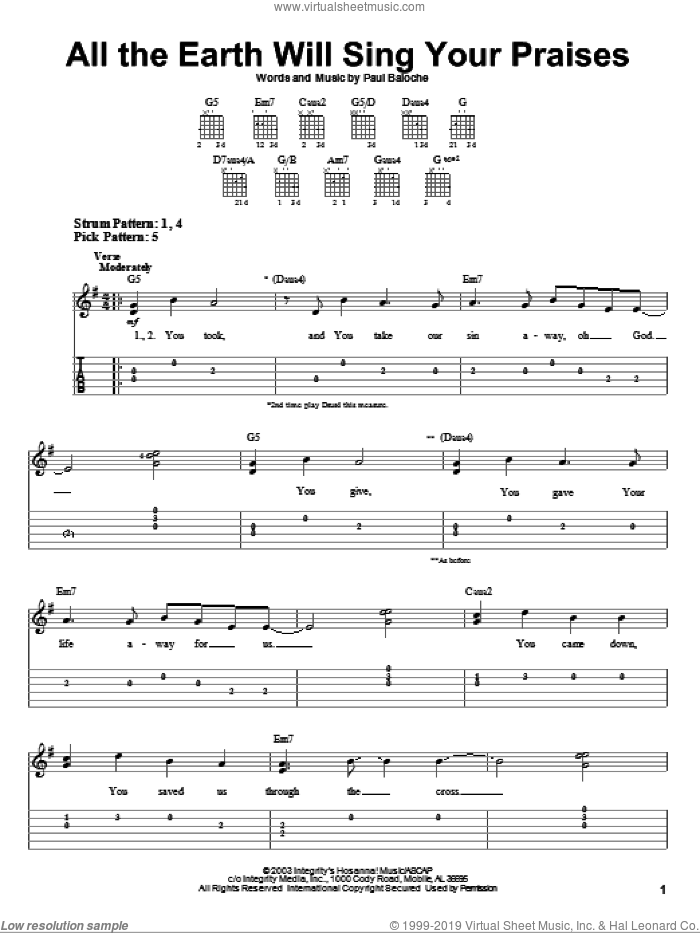 All The Earth Will Sing Your Praises sheet music for guitar solo (easy tablature) by Paul Baloche. Score Image Preview.