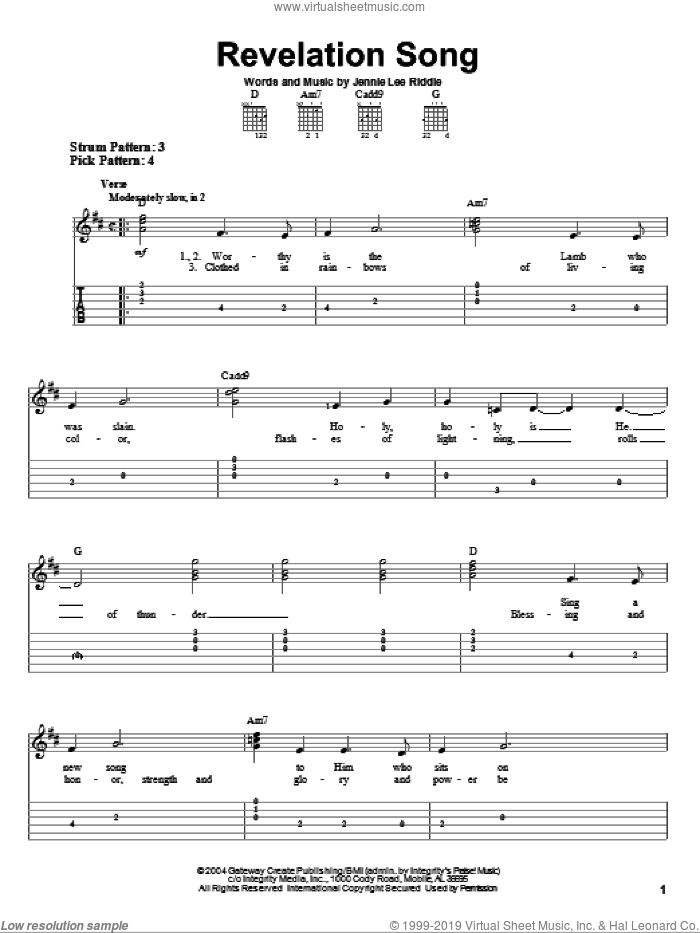 Revelation Song sheet music for guitar solo (easy tablature) by Gateway Worship and Jennie Lee Riddle, easy guitar (easy tablature)