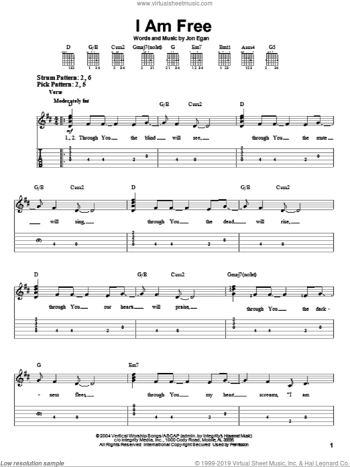 I Am Free sheet music for guitar solo (easy tablature) by Newsboys and Jon Egan, easy guitar (easy tablature)